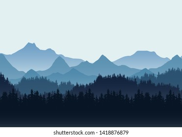 Realistic illustration of mountain landscape with hills and coniferous forest under blue sky. Suitable as a holiday or travel advertisement - vector