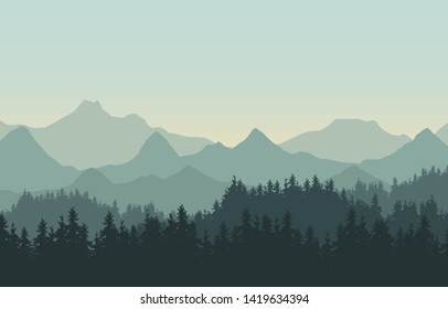 Realistic illustration of mountain landscape with hills and coniferous forest under green sky. Suitable as a holiday or travel advertisement - vector
