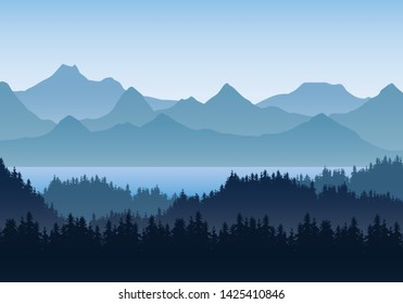 Realistic illustration of mountain landscape with hills and coniferous forest under blue sky. Lake or river. Suitable as a holiday or travel advertisement - vector