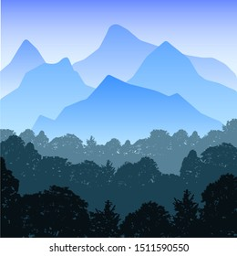 Realistic illustration of mountain landscape with hills and forest under blue sky. Suitable as a holiday or travel advertisement - vector EPS