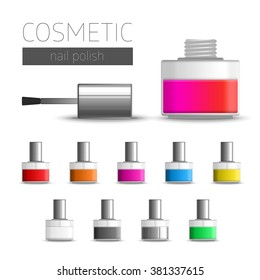Realistic illustration of nail polish. Vector template package nail polish bottles in different colors. Template cosmetic accessories.