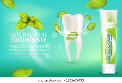 Realistic Illustration Natural Mint Toothpaste. Banner Vector Image 3d Snowwhite Bleached Healthy Tooth with Mint Leaves. Advertising New Brandname Toothpaste. Freshness Oral Cavity. Green Background