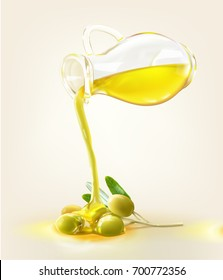 a realistic illustration of an olive oil jug pour on an olive fruit lay on the ground isolated on cream background.