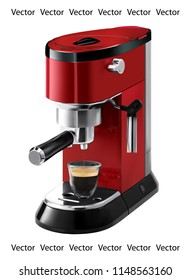 Realistic illustration of red coffee maker - vector