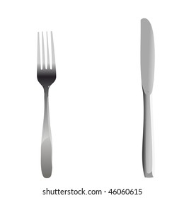 Realistic illustration set of fork and knife - vector