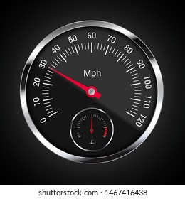 Realistic illustration of speedometer on dark car dashboard with mileage indicator per hour and engine temperature - vector