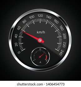 Realistic illustration of speedometer with red pointer, white numbers and chrome circular frame. Tank and fuel level meter on black background - vector