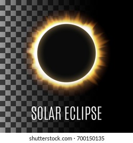 Realistic illustration of a total sun / solar eclipse. Vector with an example of use on a transparent background
