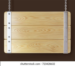 realistic illustration of a wooden signboard hanging on chains attached by steel strip and screw by the steel rivets, isolated on dark brown background.