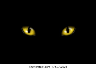 Realistic illustration of yellow feline eyes or cat eye, isolated on black background - vector