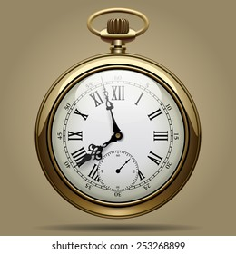 Realistic image of old vintage clock face. Retro pocket watch. Vector Illustration