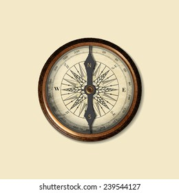 realistic image of vintage isolated compass. vector illustration