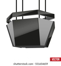 Realistic Indoor Advertising Cube LED Panel in stadium. Vector Illustration.