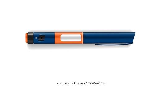Realistic insulin pen. Diabetes devices. Vector EPS10