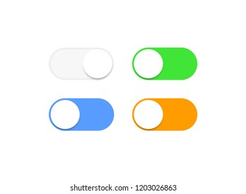Realistic iphone switch toggle buttons, set sliders in ON and OFF. Vector illustration.