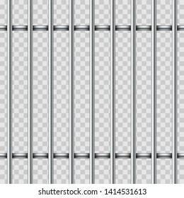 Realistic iron jail cage. Metal bars isolated on transparent background. Prison fence jail. Template design for criminal or sentence.