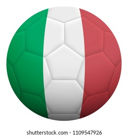 Realistic isolated 3d soccer ball textured with national flag of Italy. Football ball colored with Italian flag.