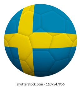 Realistic isolated 3d soccer ball textured with national flag of Sweden. Football ball colored with Swedish flag.