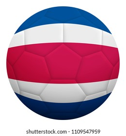 Realistic isolated 3d soccer ball textured with national flag of Costa Rica. Football ball colored with Costa Rican flag.