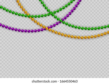 Realistic isolated beads for Mardi Gras for decorationConcept of Happy Mardi Gras.