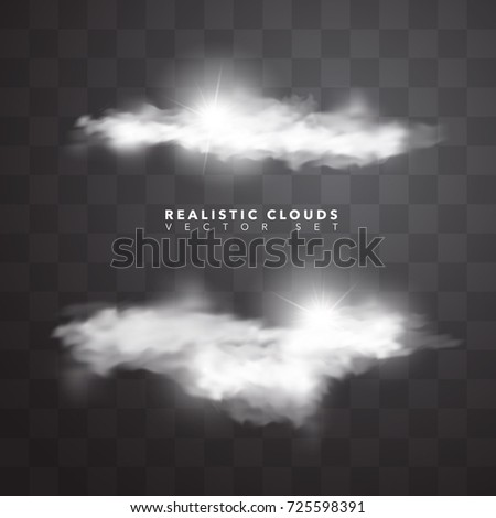 Realistic Isolated Clouds Vector Set Stock Vector (Royalty