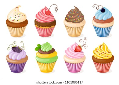 Realistic isolated colorful plate with set of cupcakes and berries on the white background. Vector illustration for tea party invitation  sweet menu of the restaurant, cafeteria, bakery cafe. eps 10.