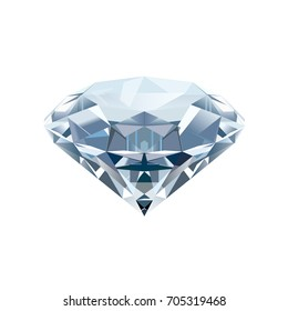 Realistic isolated diamond on a white background. Vector illustration.