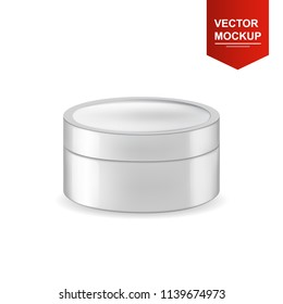 Realistic isolated round white glossy plastic jar for cosmetics packaging. Front view. Vector 3d illustration for design  placard, presentation, banners and cover.