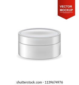 Realistic isolated round white matte plastic jar  for cosmetics packaging. Front view. Vector 3d illustration for design  placard, presentation, banners and cover.