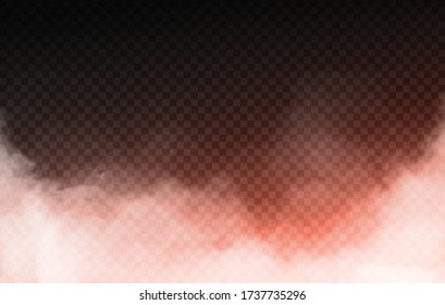 Realistic isolated smoke fog effect With light orange neon backlight Easy to Edit Suitable for motion design different effects and decoration On black transparent background Vector Illustration EPS 10