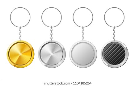 Realistic isolated steel circle 3D key ring template. Plastic keychain with carbon silver gold metal mockup ring for keys. White holder of key ring at chain