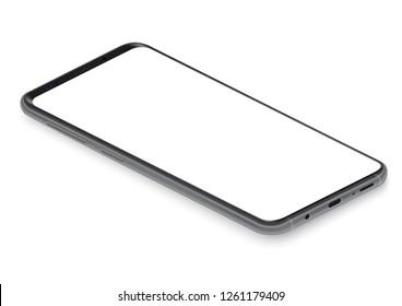 Realistic isometric black frameless smartphone mockup perspective view vector illustration.