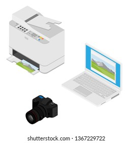 Realistic isometric laptop computer, printer and digital photo camera. Print high quality photo paper