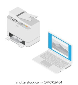 Realistic isometric laptop computer and printer. Print high quality photo paper