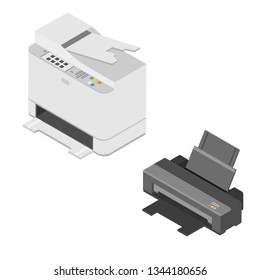 Realistic isometric printer isolated on white background. Printer and scanner. Printer  icon.