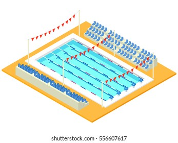 Realistic isometric sport pool. Creative 3D vector illustration with basin, flags and tribune. Perspective design used for infographics, banner, poster or card creation.