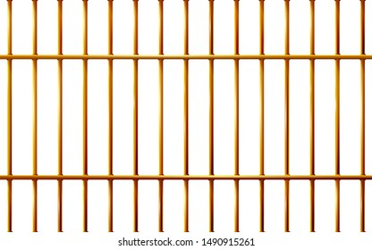 Realistic Jail bars golden, prison background iron interior. Yellow cells old. Banner vector detailed illustration metal lattice. Detention centre cell. Isolated way, freedom concept gold grid. Eps 10