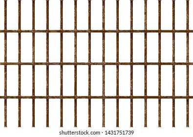 Realistic Jail bars rusty, prison background iron interior. Brown cells old. Banner vector detailed illustration metal lattice. Detention centre cell. Isolated way, freedom concept grid. Eps 10.