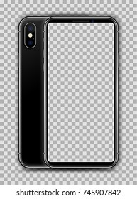 Realistic Jet Black Slim Smartphone isolated on Transparent Background. New Version. Front, and Back View Display. High Detail Device Mockup Separate Groups and Layers. Easily Editable Vector EPS 10.
