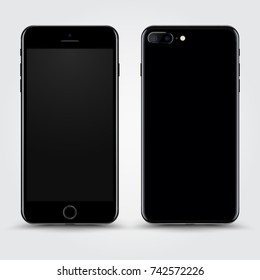 Realistic Jet Black Smartphone with Blank Screen isolated on Background. Front and Back View For Print, Web, Application. High Detailed Device Mockup Separate Groups and Layers. Easily Editable Vector