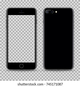 Realistic Jet Black Smartphone with Transparent Screen Isolated. Front and Back Display View For Print, Web, Application. High Detailed Device Mockup Separate Groups and Layers. Easily Editable Vector