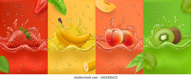 Realistic Juicy and fresh fruit. banana, strawberry, peach, kiwi, mango. Dew drops and splash. 3d vector realistic set. High quality Vector EPS 10