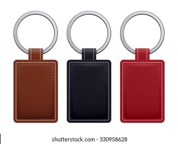 Realistic key chains pendants templates set. Leather designs. Vector illustration isolated.