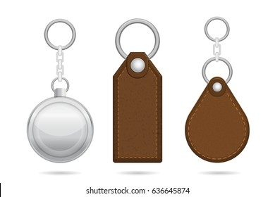 Realistic key chains. Vector illustration.