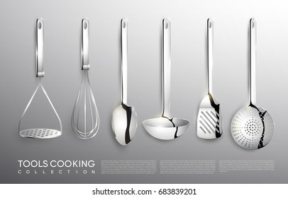 Realistic kitchen silver cooking tools set with potato masher whisk spoon ladle spatula and skimmer isolated vector illustration