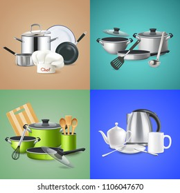 Realistic kitchen tools design concept cookware of chef green culinary set kettle with crockery isolated vector illustration