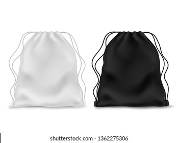 Realistic knapsack. Black white blank backpack. Sports bag, school textile rucksack, pack pouch 3d accessory with ropes and drawstring. Vector mockup
