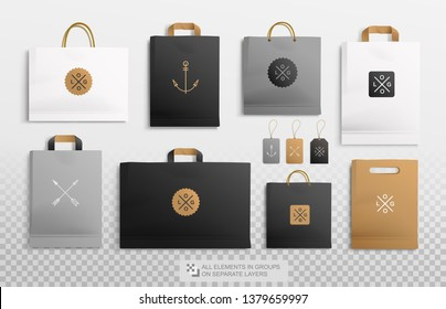 Realistic Kraft Package and Paper Shopping bag mockup template for branding and logo presentation. Vector Craft Package and price tag black, brown, white color. Shoppimg bag mock-up on separate layers
