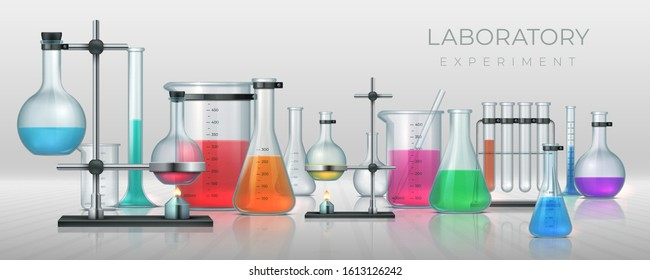 Realistic laboratory. Chemistry lab equipment, 3D flask tubes beaker and other measuring colored filling glassware. Vector chemical or medicine experiment for solutions research or test
