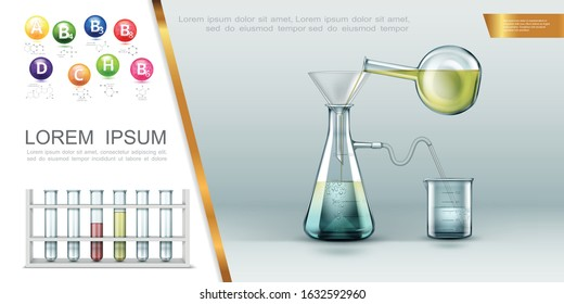 Realistic laboratory concept with test tubes vitamins molecular structure chemical experiment using flasks funnel and beaker vector illustration